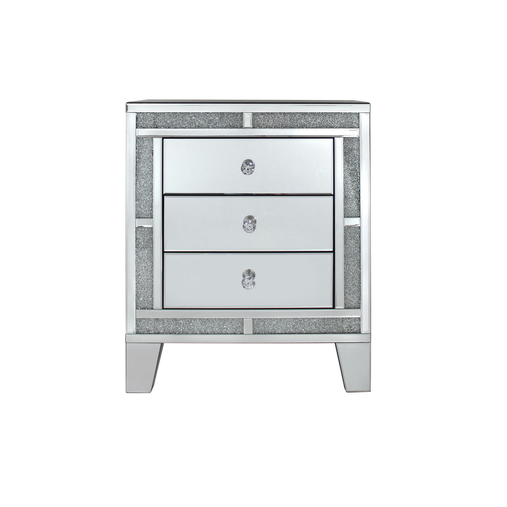 Crushed diamond mirror 3 drawer bedside cabinet cjm homeware for Mirror bedside cabinets
