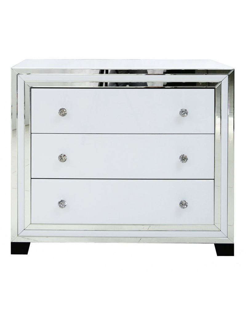 White ny mirror 3 drawer cabinet cjm homeware for White mirrored cabinet