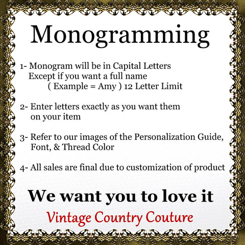 Monogram Guide- Vintage Country Couture