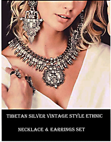 Tibetan Silver Vintage Style Ethnic Necklace & Earrings Set
