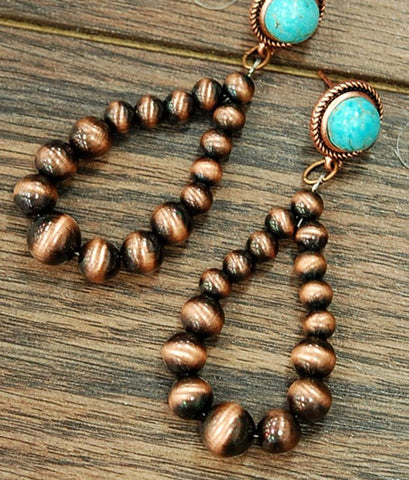 Copper &Turquoise Tear Drop Navajo Bead Earrings - Vintage Country Couture