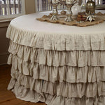 Round Ruffled Flax Tablecloth - 5 ft - Vintage Country Couture