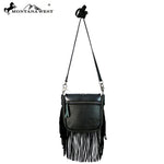 Animal Print Leather Handbag with Fringe