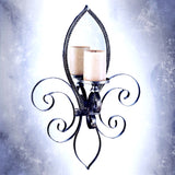 Tall Mirrored Wall Sconce- Fleur-De- Lis