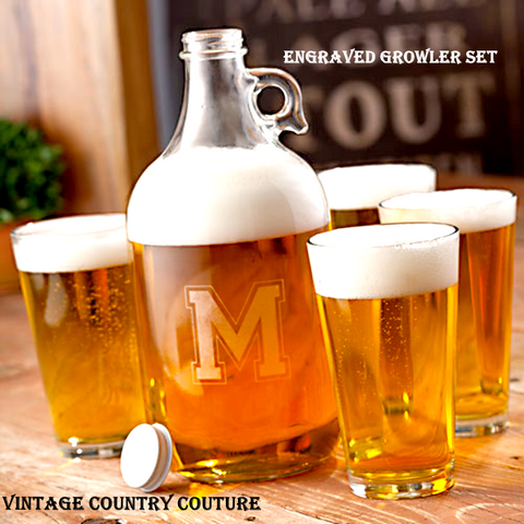 Monogrammed Beer Growler Jug with 4 Pub Glasses