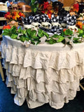 Round Ruffled Flax Tablecloth - 5 ft