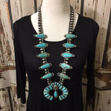 Full Squash Blossom Natural Turquoise Necklace - Vintage Country Couture
