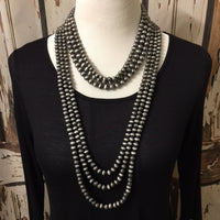Chunky Pewter Navajo Bead Necklace - Vintage Country Couture