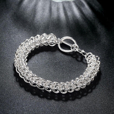 Intertwined Knotted Toggle Bracelet- 18k White Gold