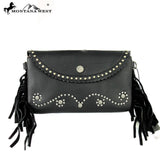 Leather Clutch with Fringe - Black