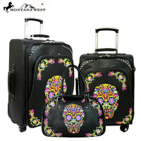Sugar Skull Montana West 3 PC Luggage Set - Vintage Country Couture