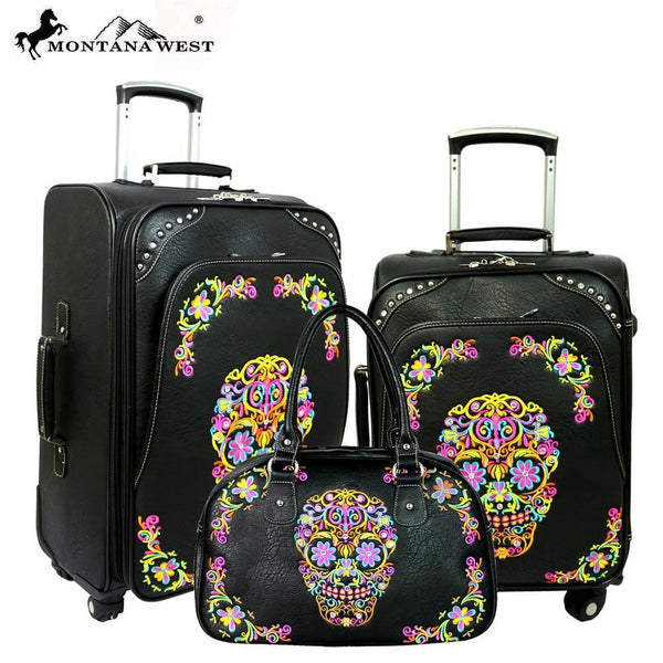 Sugar Skull Montana West 3 PC Luggage Set