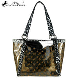 Clear Tote Handbag with Leopard Print