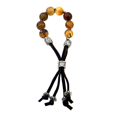 Agate Stone Beads Bracelet with Adjustable Suede Cord