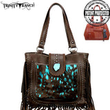 Trinity Ranch Hair-On Leather Handbag - Turquoise Stone- Fringe