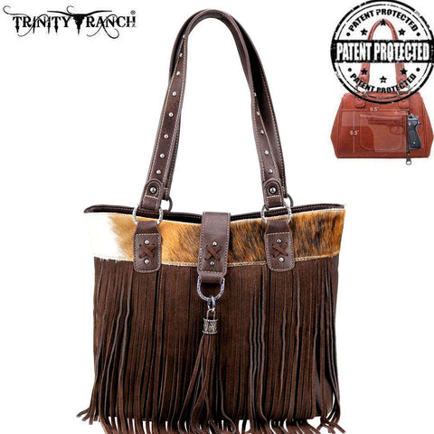 Trinity Ranch Tooled Hair-On Leather Collection Concealed Tote