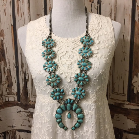Squash Blossom Necklace- Long Native Style Turquoise Blossom Necklace