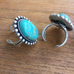Natural Turquoise Stone Adjustable Ring- Gemstone Ring