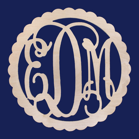 Scalloped Wooden Letter Monogram