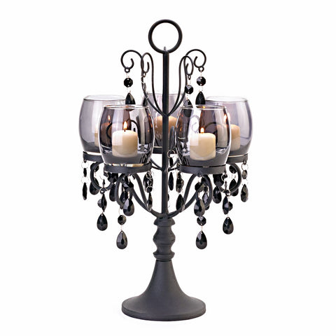 Black Candelabra with Acrylic Beads