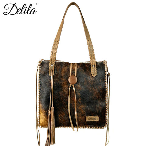 Delila 100% Genuine Leather Hair-On Hide Tote Bag