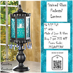 Stained Glass Pedestal Lantern- Aqua