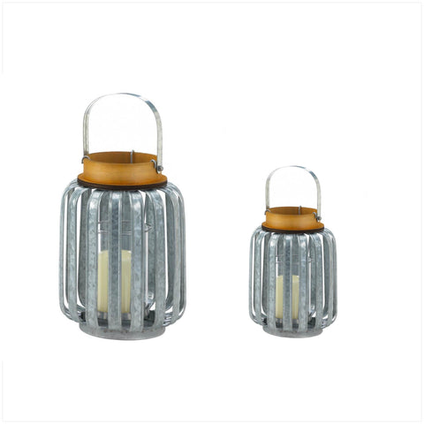 Set of Galvanized Metal Lanterns