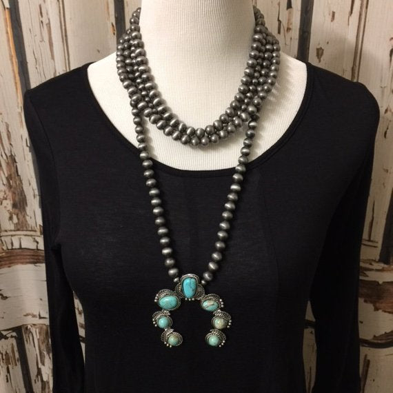 Natural Turquoise Squash Blossom Naja, Navajo Pearl Necklace Navajo Beads Free Shipping - Vintage Country Couture