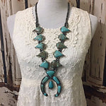 Squash Blossom Blue Turquoise Necklace - Southwestern Style- Natural Turquoise