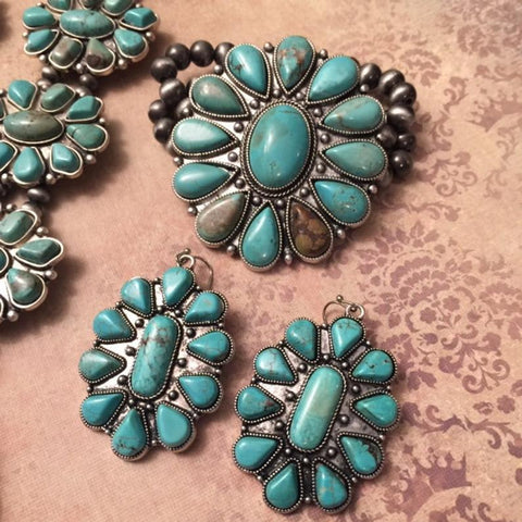Squash Blossom Earrings & Bracelet Set- Navajo Style Bracelet and Earrings- Natural Turquoise