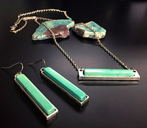 Turquoise Bar Necklace & Earrings- Silver Layering Necklace- Bohemian Bar Necklace- Bohemian Bar Earrings