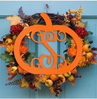 Wood Monogram Hanging Pumpkin - Vintage Country Couture