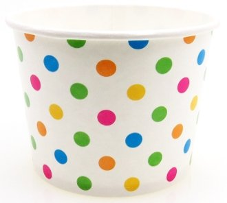 12 oz Paper Hot / Cold Ice Cream Cups - 100ct (Polka Dot)