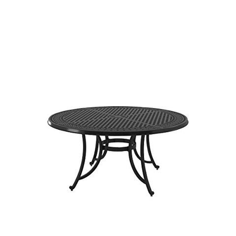 Ashley Furniture Signature Design - Burnella Outdoor Large Round Dining Table with Umbrella Option - Lattice Top - Seats 6 - Brown