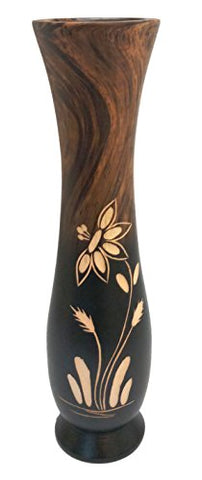 roro Handcarved Wood Floral Etched Vase, Two Tone Brown 12 inch