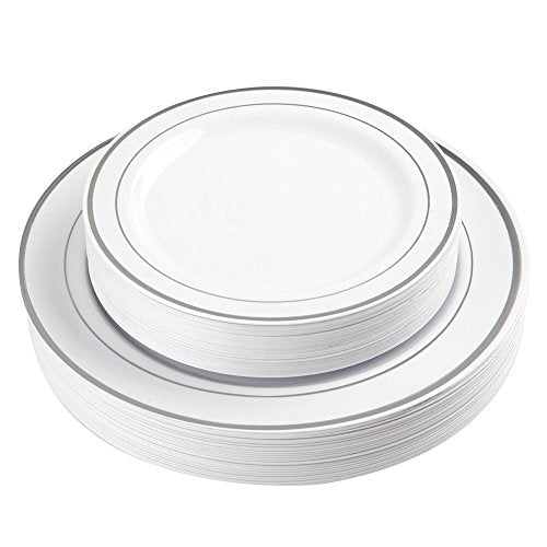 BloominGoods 50-Piece Disposable Plastic Plates - Party & Wedding - 25 Dinner Plates and 25 Dessert Plates – Silver Rimmed - Premium Heavy Duty