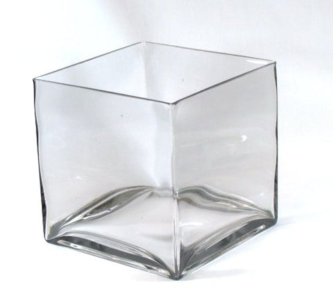 "8"" Square Large Glass Vase - 8 Inch Clear Cube Oversize Centerpiece - 8x8x8 Candleholder by Vasefill"