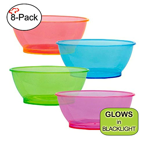 Tiger Chef Neon Assorted Party Plates, 8-Pack 6-ounce Hard Plastic Plates, Assorted Neon Colors Pink, Blue, Green and Orange