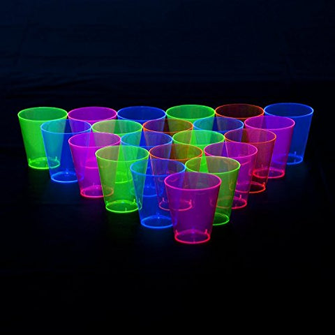 FREEDco Black LIght Plastic 1-Ounce Shot/Shooter Glasses, Wedding Party Bar Shot Glasses, 48-Count Neon Mix