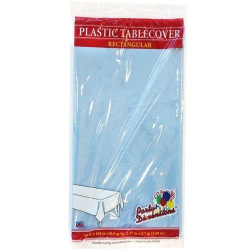 Plastic Party Tablecloths - Disposable, Rectangular Tablecovers - 4 Pack - Light Blue - By Party Dimensions