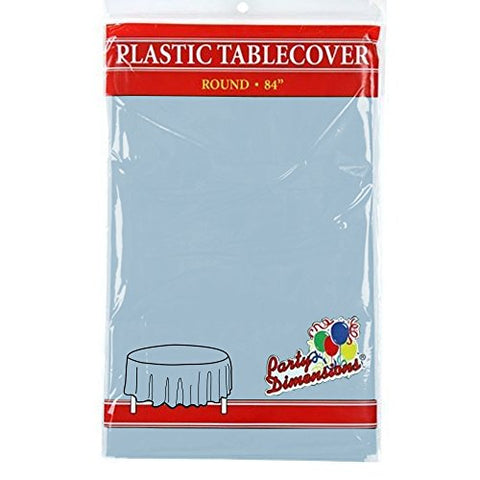 "Light Blue Round Plastic Tablecloth - 4 Pack - Premium Quality Disposable Party Table Covers for Parties and Events - 84"" - By Party Dimensions"