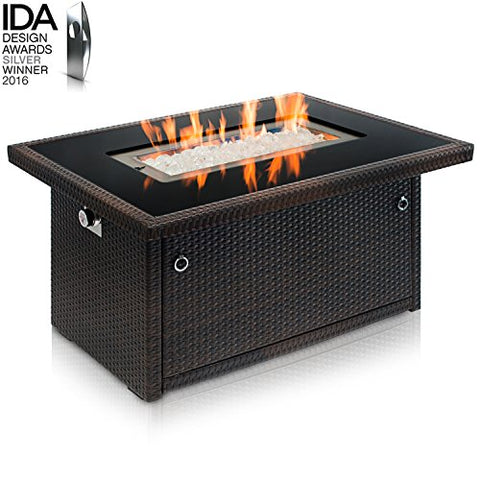Outland Fire Table, Aluminum Frame Propane Fire Pit Table with Black Tempered Glass Tabletop Resin Wicker Panels & Arctic Ice Glass Rocks, Auto-ignition (Espresso Brown/Rectangle)