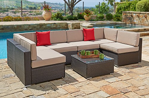 Suncrown Outdoor Furniture Sectional Sofa Set 7 Piece Set All