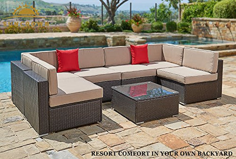 Suncrown Outdoor Furniture Sectional Sofa Set (7-Piece Set) All-Weather  Brown Wicker with Brown Washable Seat Cushions & Modern Glass Coffee Table  | ...