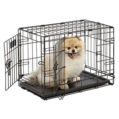 Dog Crate | MidWest iCrate XS Double Door Folding Metal Dog Crate w/Divider Panel, Floor Protecting Feet & Leak-Proof Dog Tray | 22L x 13W x 16H inches, XS Dog Breed, Black