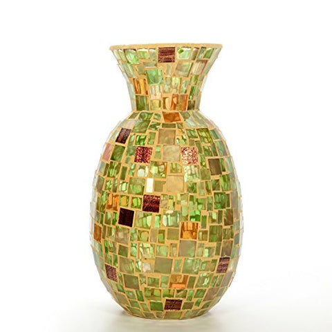 "Hosley Mosaic Cream Glass Vase- 11.8"" High. Ideal Gift for Weddings, Spa, Flower Arrangements P2"