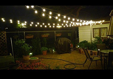 25ft G40 Globe String Lights With Clear Bulbs Ul Listed Backyard Patio Lights Hanging Indoor Outdoor String Lights For Bistro Pergola Deckyard Tents