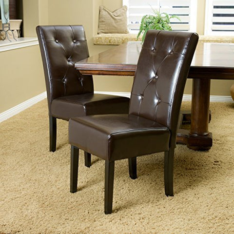 Alexander Chocolate Brown Leather Dining Chair (Set of 2)