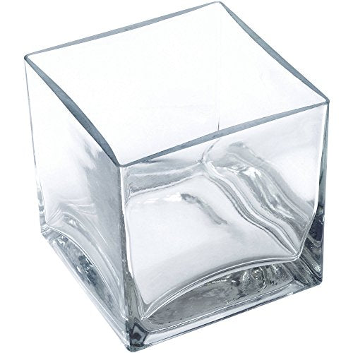 "12 piece set Square Glass Vase 4""H x 4""W x 4""L Clear Cube Centerpiece Votive Candle-holder"