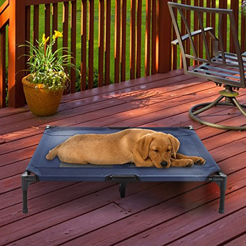 "PETMAKER Elevated Pet Bed-Portable Raised Cot-Style Bed W/Non-Slip Feet, 36""x 29.75""x 7"" for Dogs, Cats, and Small Pets-Indoor/Outdoor Use by (Blue)"